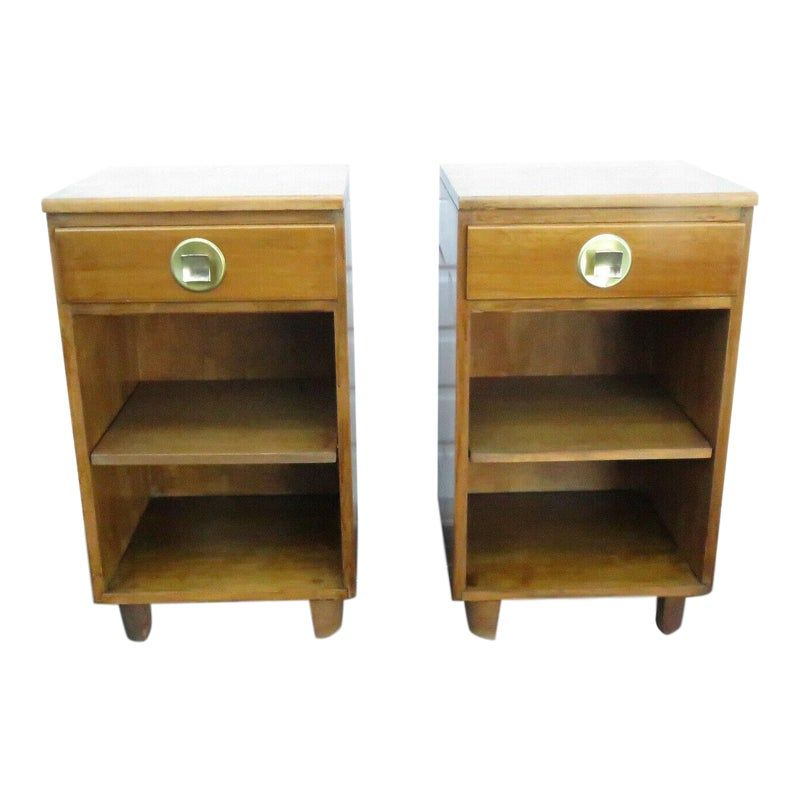Best Mid Century Modern Pair Of Tall And Narrow Nightstands End 640 x 480