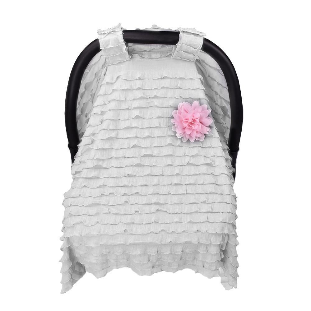 Car Seat Canopy White Ruffle With Pink Flower Car Seat Canopy