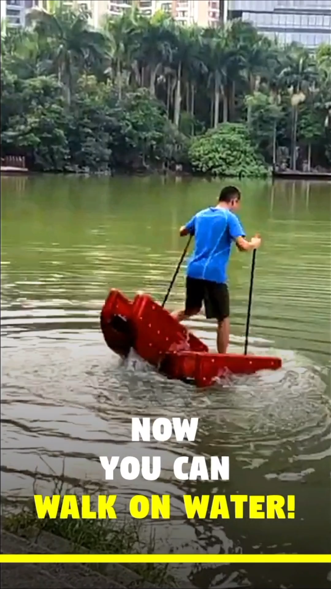 This Fun Water Sports Device Lets You Walk On Water! is part of Walk on water, Water fun, Water sports, Creative inventions, Cool inventions, Backyard pool - Now you can cross the water surface while walking upright  This fun filled water sports device is called  Walk On Water   Invented by 'LI BAOHUA' and