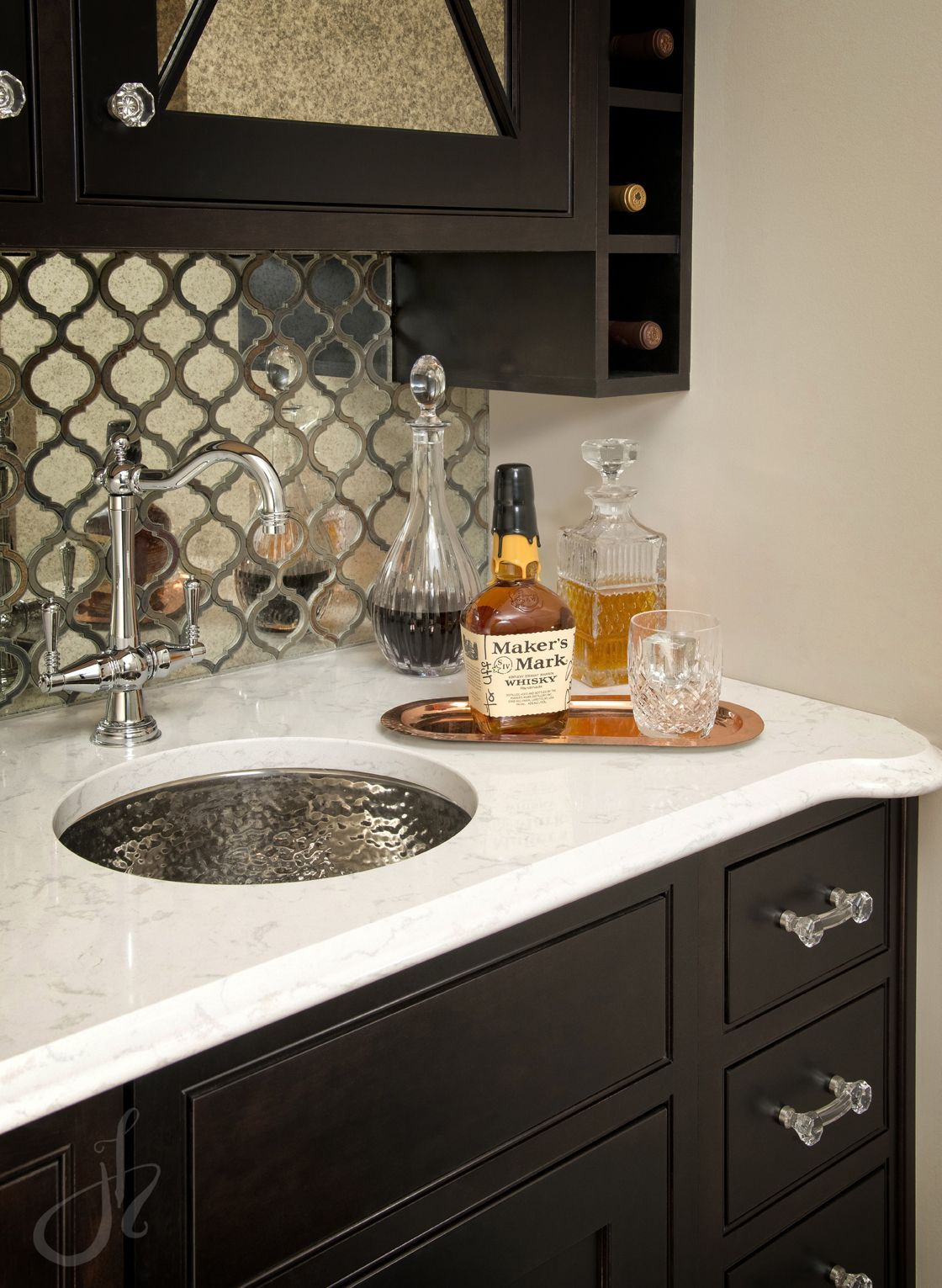 Wet Bar Mirrored Backsplash Antique Mirror Tile Cambria Quartz