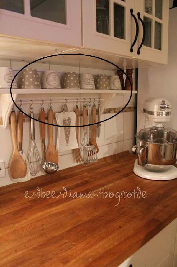 Declutter Your Kitchen Counter With This Shelf And Little Rod Which Holds Utensils