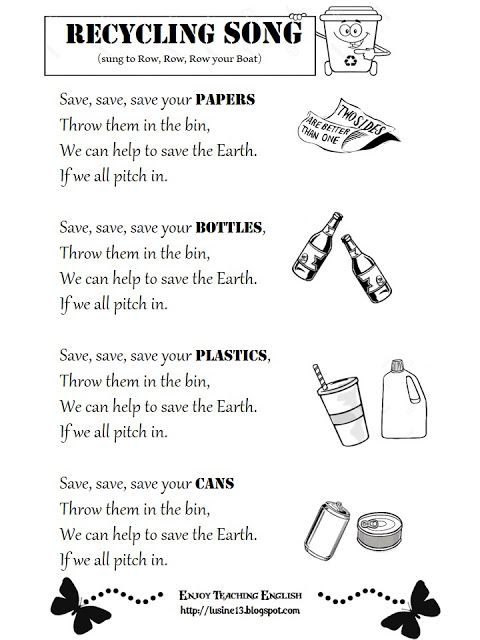 Enjoy Teaching English Earth Day And Recycling Songs And A
