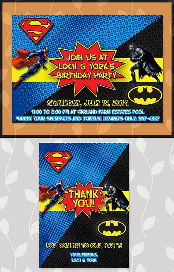 Batman Superman Invitation // Batman Superman Birthday Party ...