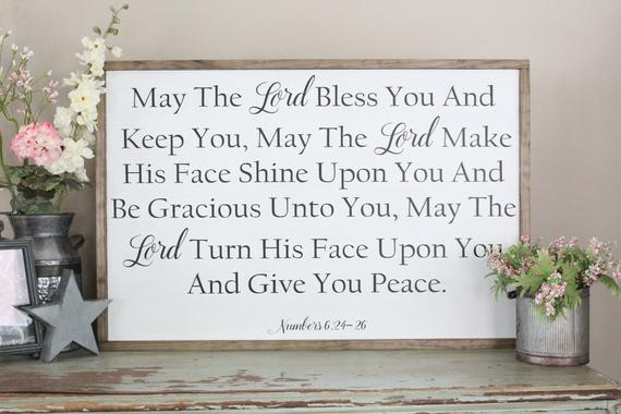 May The Lord Bless And Keep You Framed Wood Sign Numbers 6 24