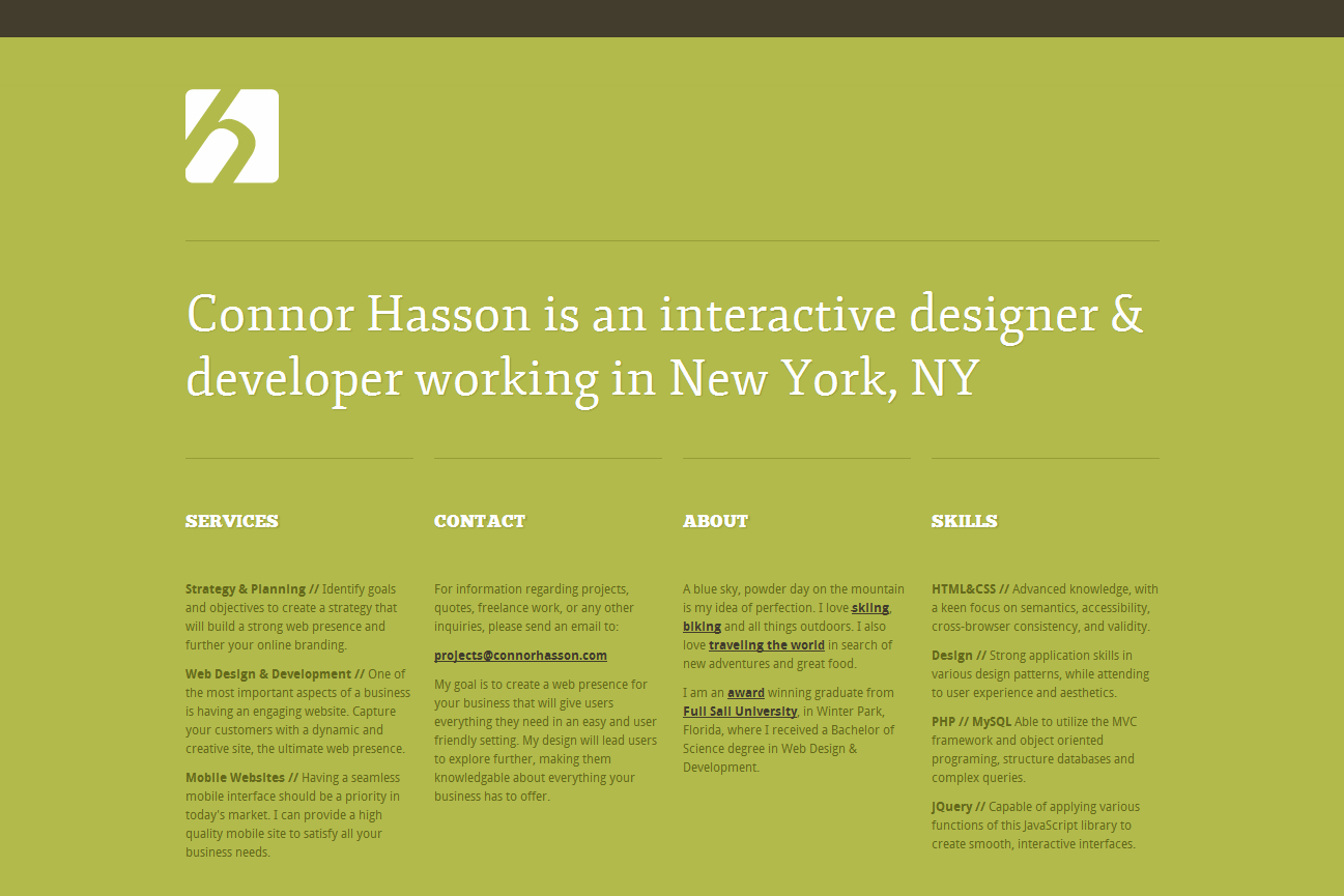 Connor Hasson Web Design Work In New York Interactive
