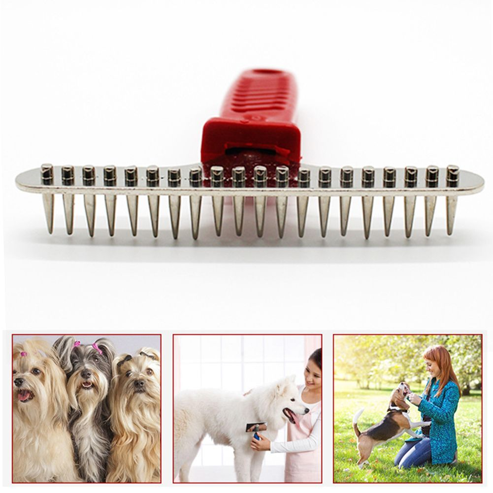 Pet Dog Grooming  Cat Steel Pins Hair Grooming Trimmer Rake Comb Fur Cleaning Brush For Dog's Supplies