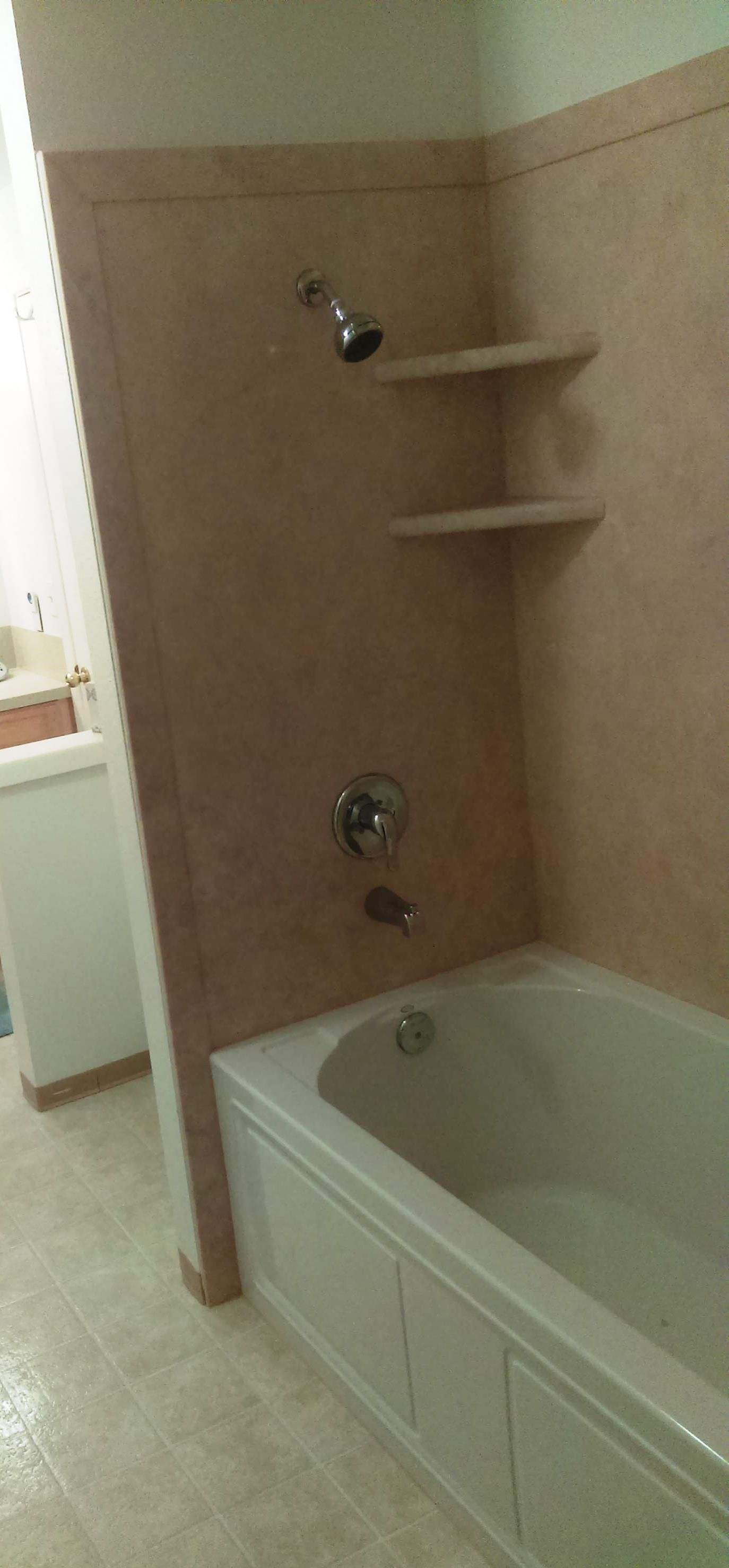 After shot with our Kohler acrylic tub and armrest. Wall surround in ...