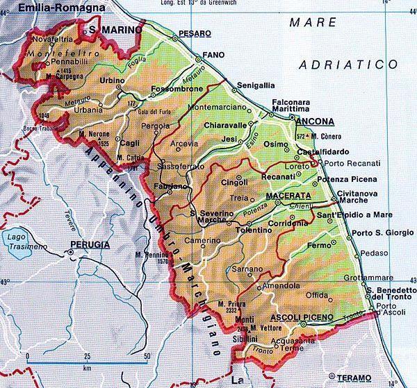 Cartina Geografica Delle Marche.Mappa Delle Marche Cartina Delle Marche Nel 2020 Mappe