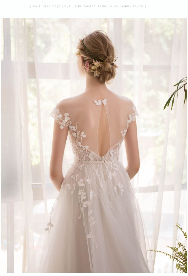 Photo of O-Neck Embroidered Organza Tulle Beach Wedding Dress – Uniqistic.com