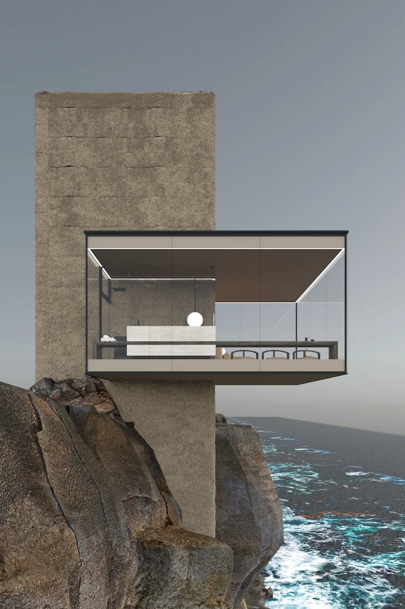 a minimalist glass cabin hovers over a cliff edge, by yakusha design