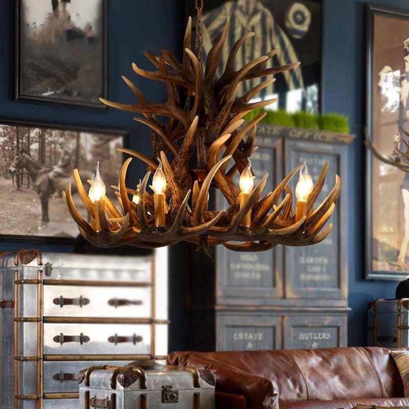 Luxury Amerikanischen landhausstil retro mode harz geweih form industriellen kronleuchter droplight Anh nger lampe mit