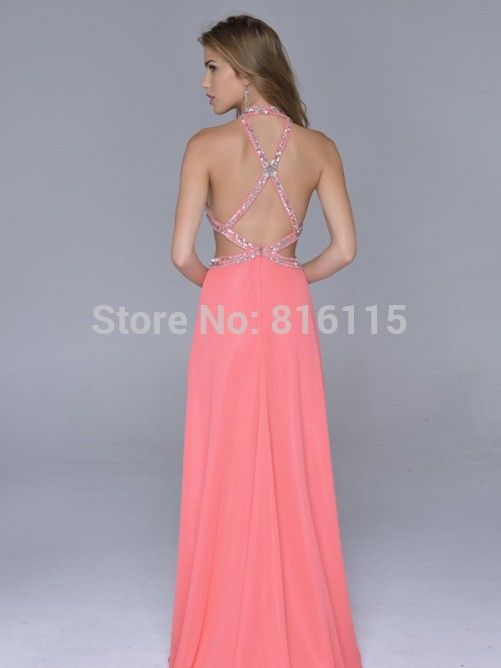 Aliexpresscom Buy Halter Prom Gown Chiffon Watermelon Coral Color