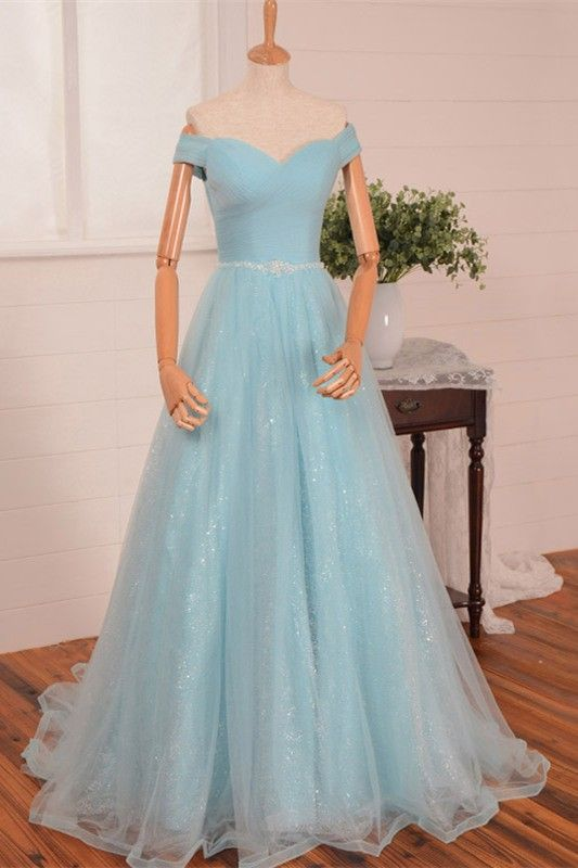 c35c26ea038a A Line Sweetheart Off The Shoulder Light Blue Tulle Prom Dress Beading Belt
