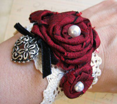 Stacy's Thoughts & Designs 88: Fun and Fancy Free Fabric Rosette Cuff Bracelets