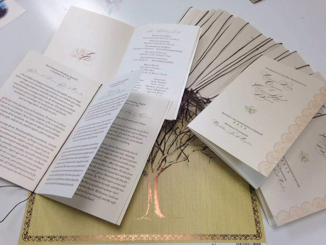 Multi Page Bilingual Wedding Program Custom Designed By The