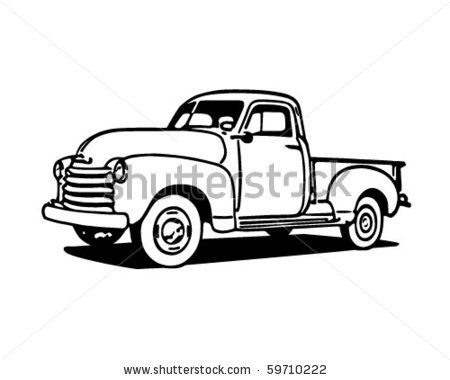 Pickup Truck Retro Clip Art Stock Vector Old Pickup Vintage Truck Old Pickup Trucks