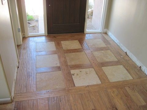 Wood And Tile Inlay Flooring Tiles