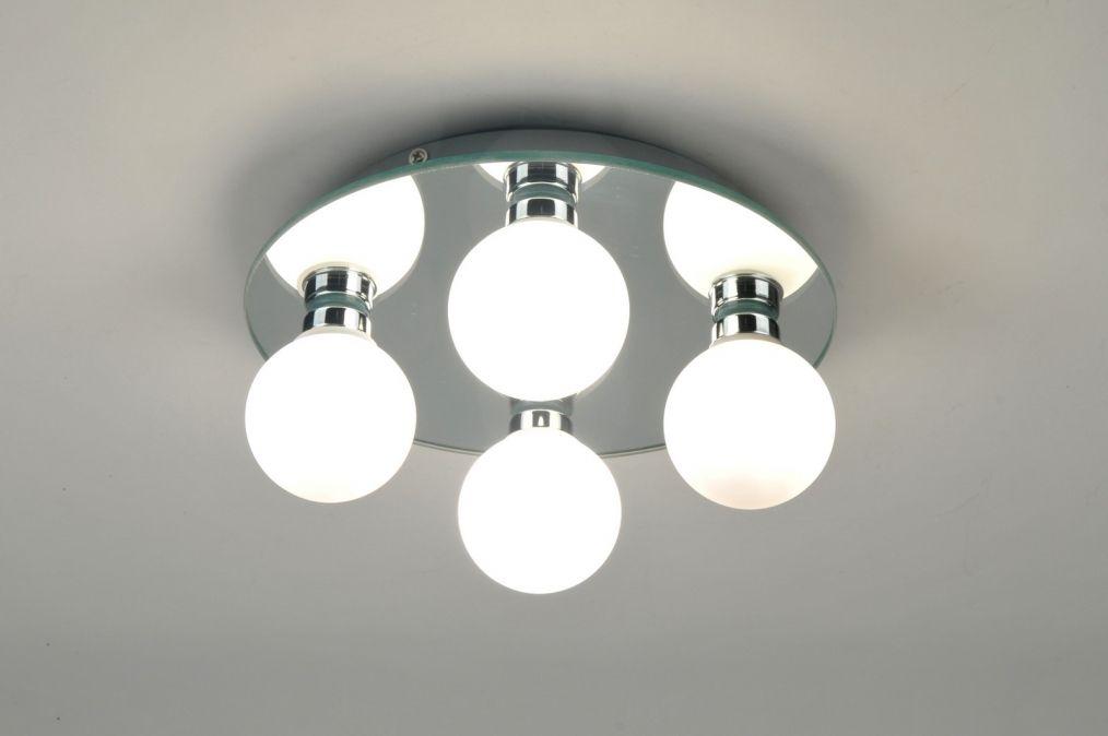 Lampara de techo 71100: Moderno, Vidrio, Blanco vidrio opal, Redonda