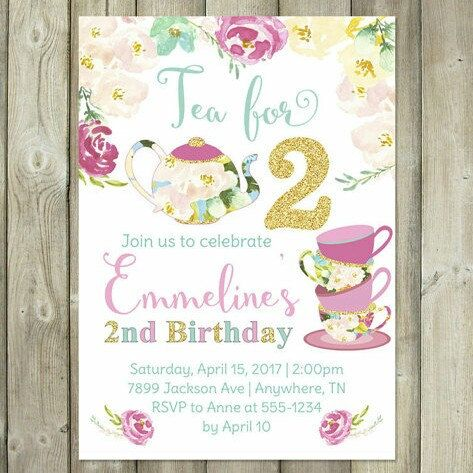 Two Years Old That Is What An Adorable Way To Start Off Your Little Ladys Tea Party Themed Birthday Love This Design