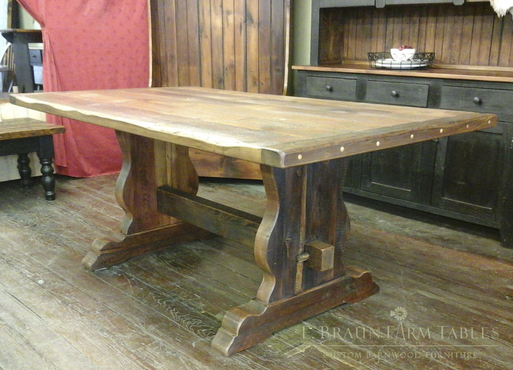 Reclaimed Barn Wood Farm Table With Curved Vase Trestle Base   We Custom  Make Furniture For