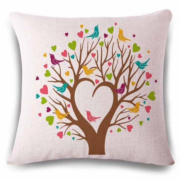 Design A Pillowcase Online: Stylish Heart Shape Tree Birds Color Drawing Design Linen    ,