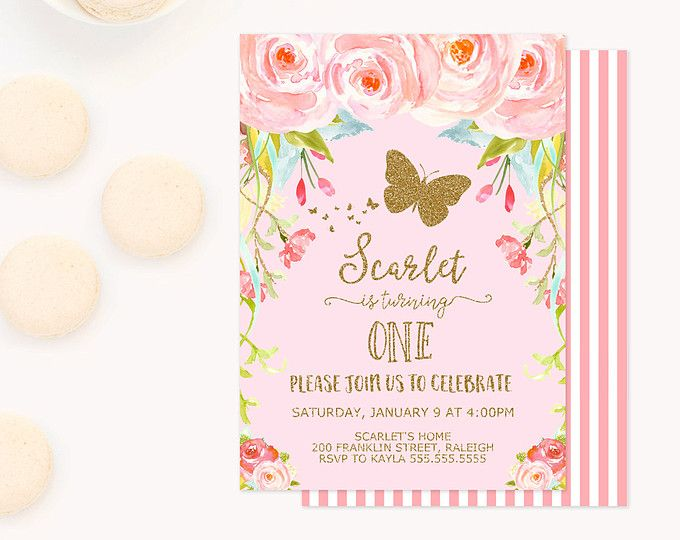 Butterfly Invitation Birthday Party Printable Pink And Gold Garden Invite First 1st