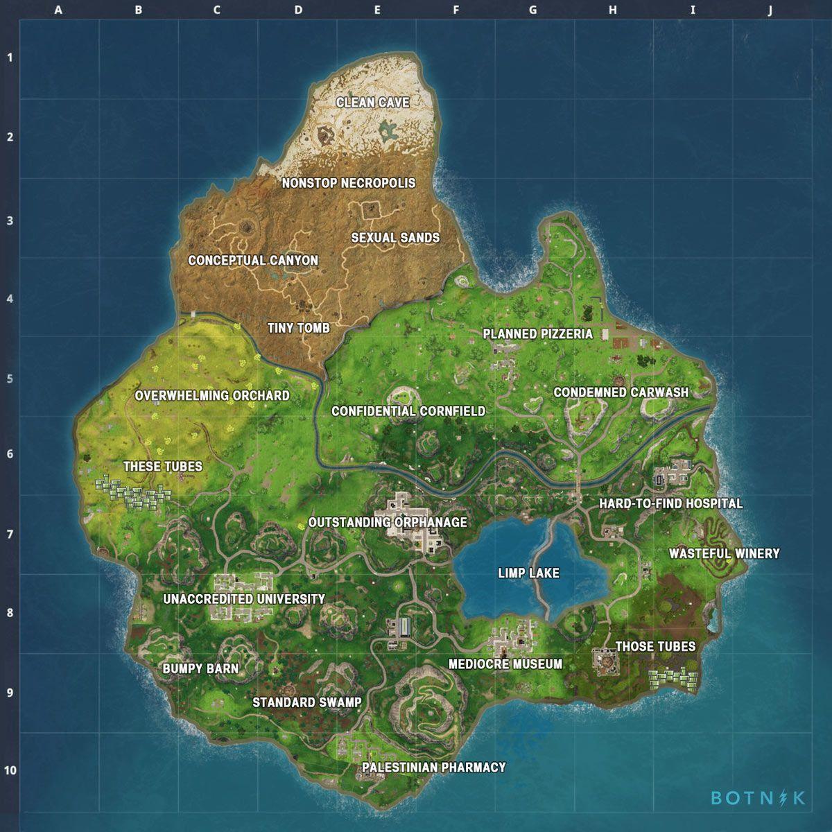 The Fortnite Map according to Botnik Studios' Alliterative