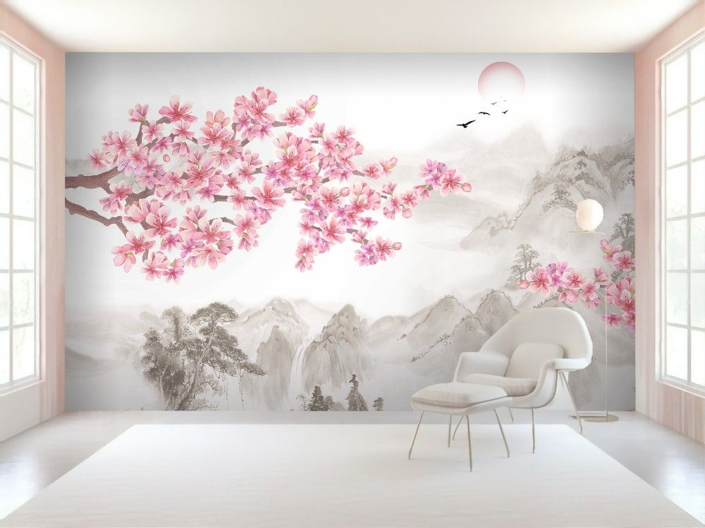 Cherry Blossom With Mountain Landscape Wallpaper Mural Cherry Blossom Wall Art Tree Wall Painting Cherry Blossom Bedroom
