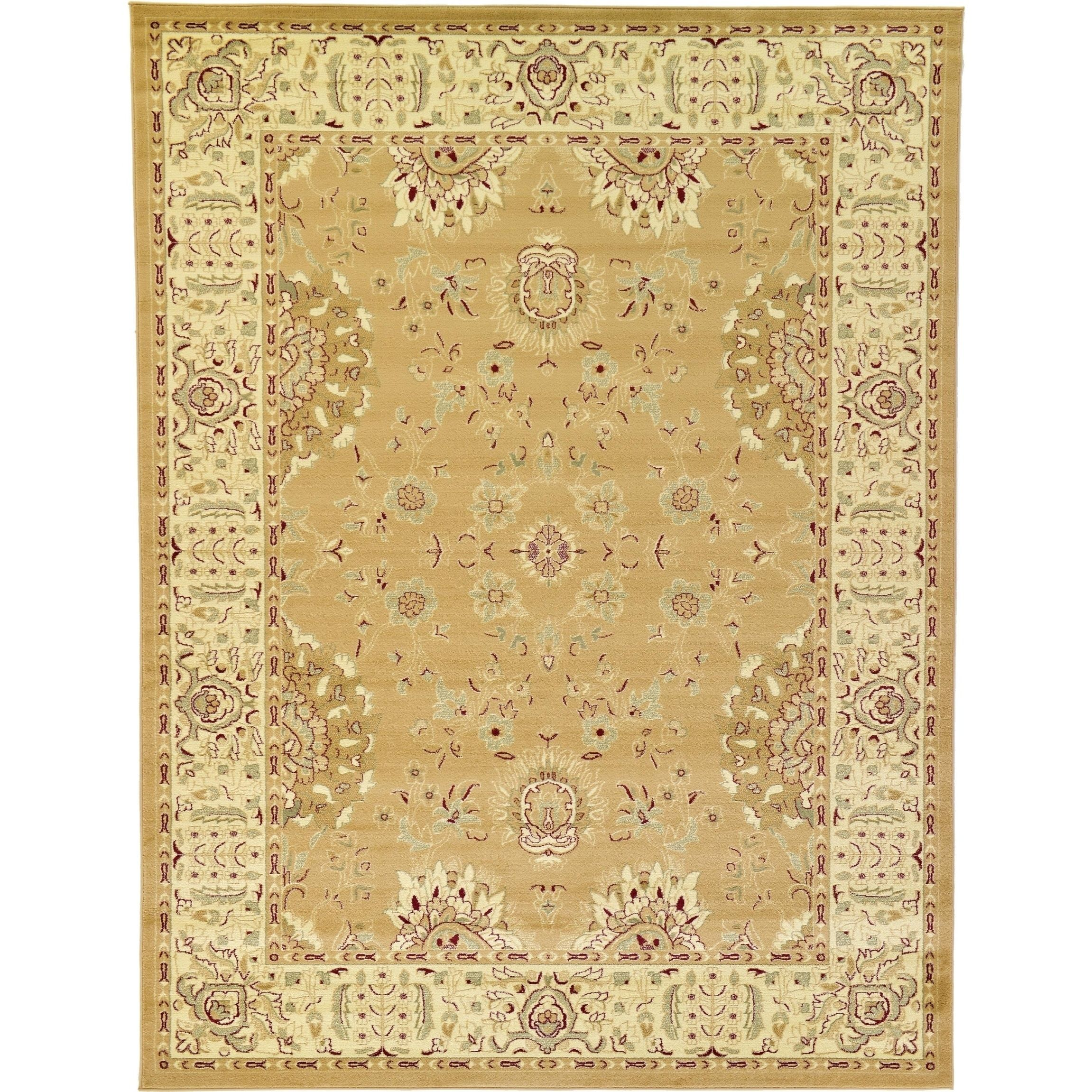 Unique Agra Tan And Green Floral Traditional Area Rug 9 X 12