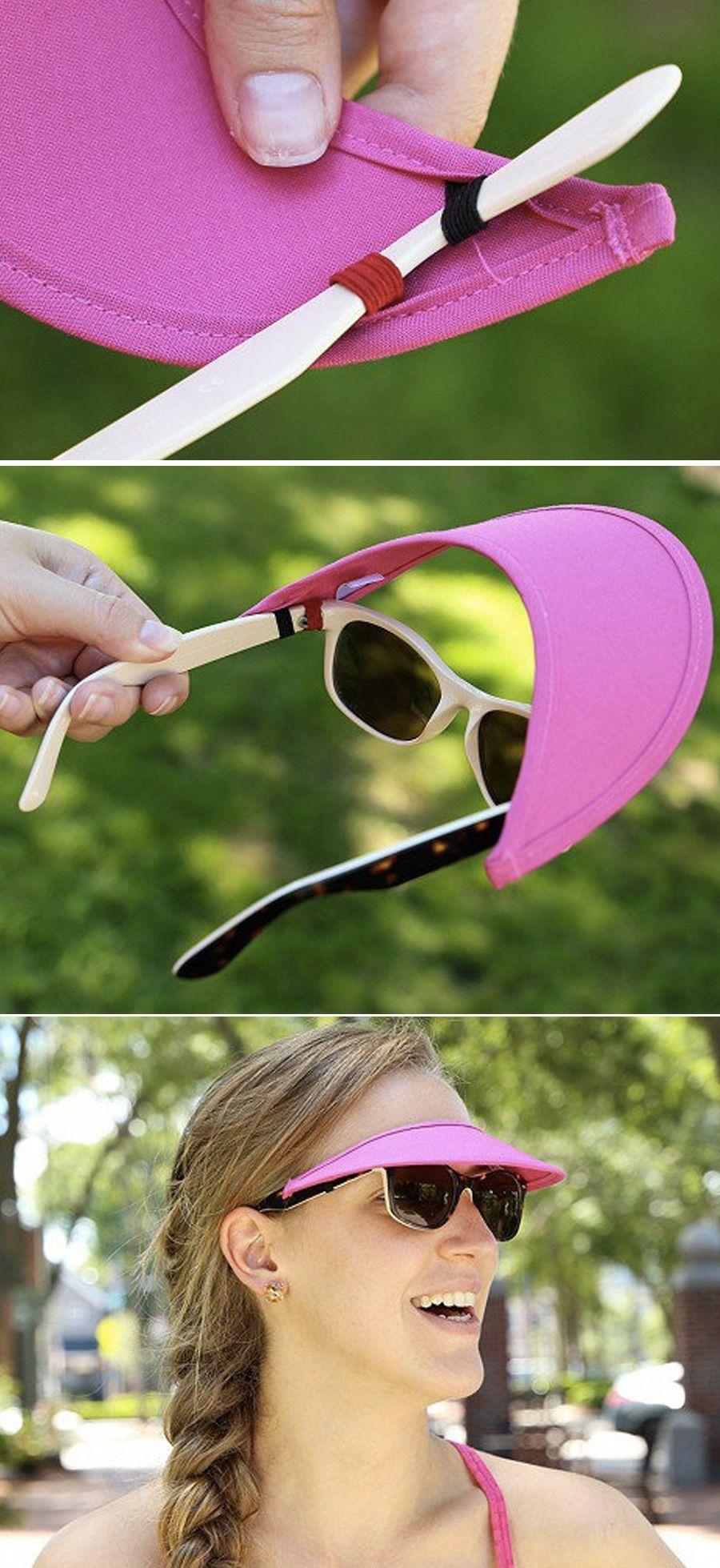 Vizini strapless visor has loops that slide onto the arms