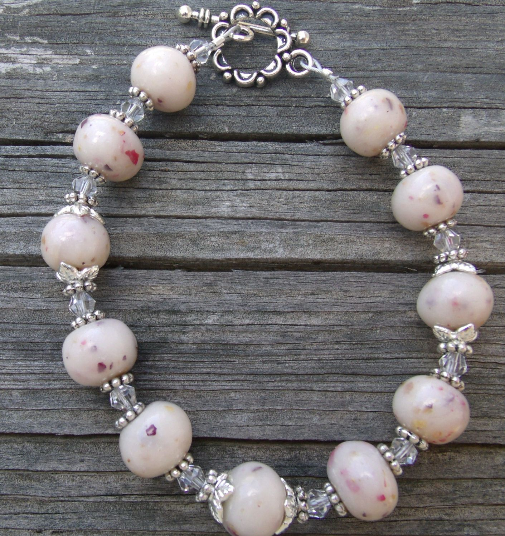 Dried Flower Memory Memorial Beads Bracelet Polymer Clay Jewelry