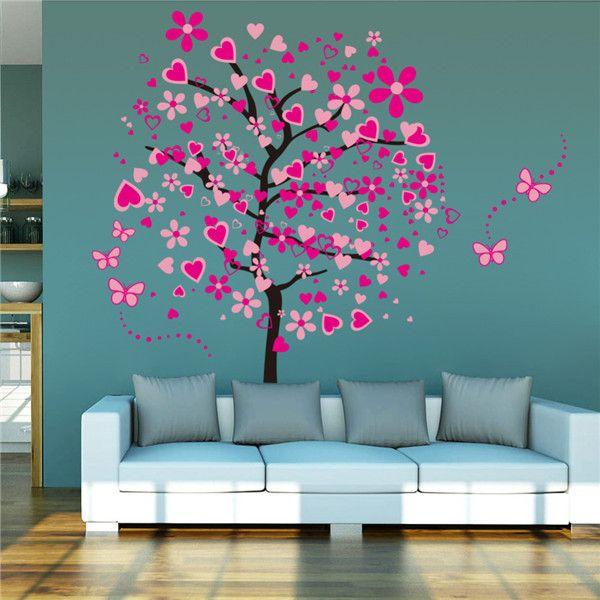 nieuwe aankomst diy behang voor grote roze vlinder bloem boom, Deco ideeën