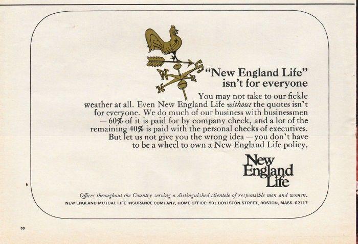 1967 New England Life Insurance Vintage Ad New England Life