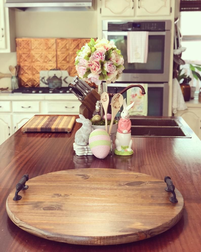 24 farmhouse wood tray lazy susan turntable in 2020