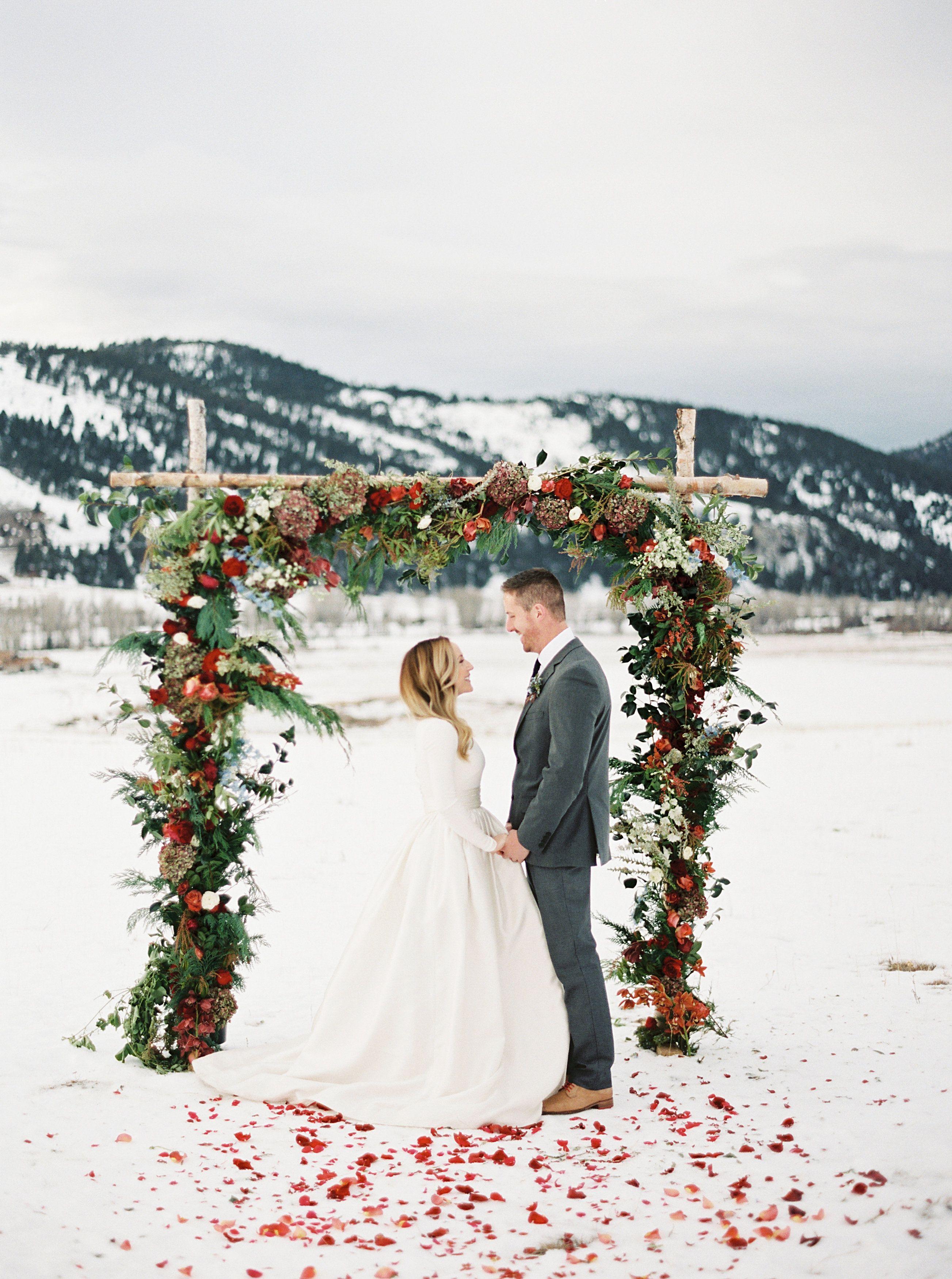 Wedding In A Winter Wonderland Winter Wedding Arch Winter Weddings Photography Winter Wedding Inspiration