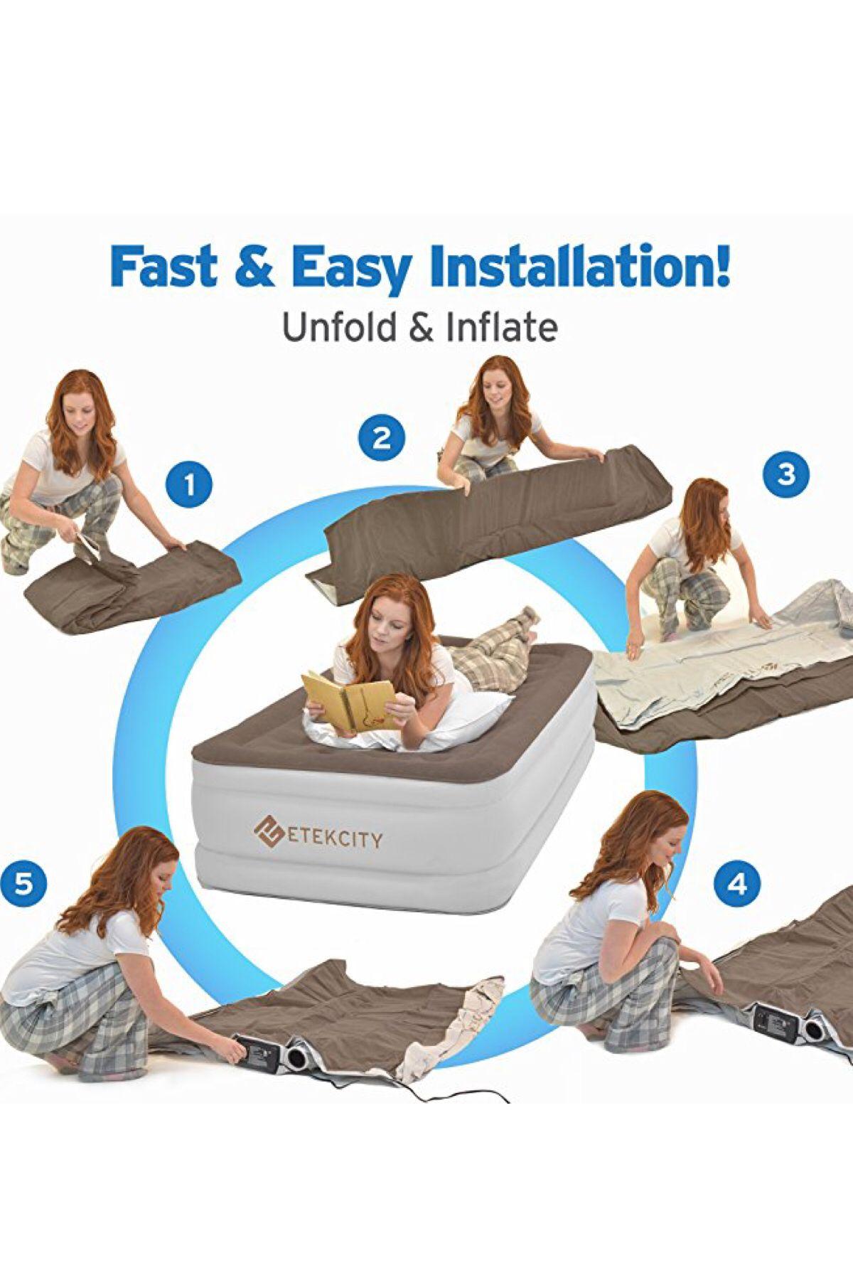 Etekcity upgraded air mattress blow up elevated raised