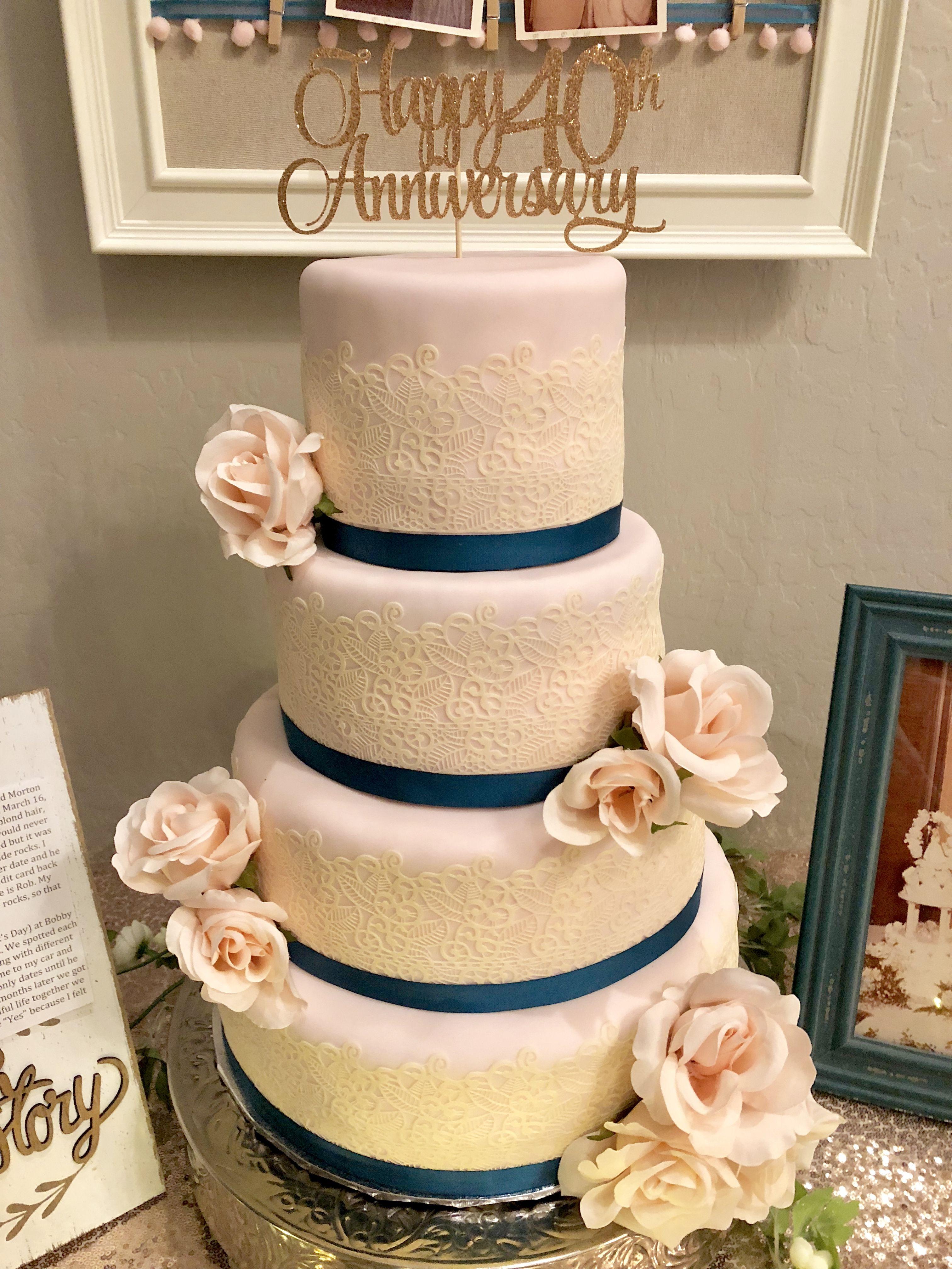 Edible lace wedding cake 40th wedding anniversary in 2020