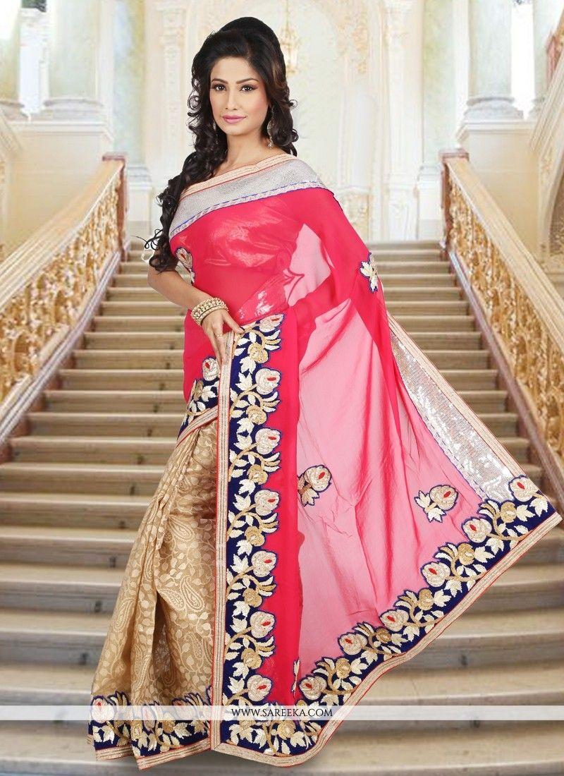 Hot pink and beige viscose designer saree saree hot pink and beige