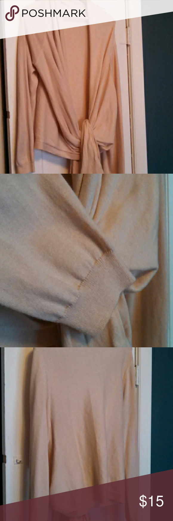 Beige wrap sweater 85% cotton 15% cashmere Super soft, never worn Moda International Sweaters