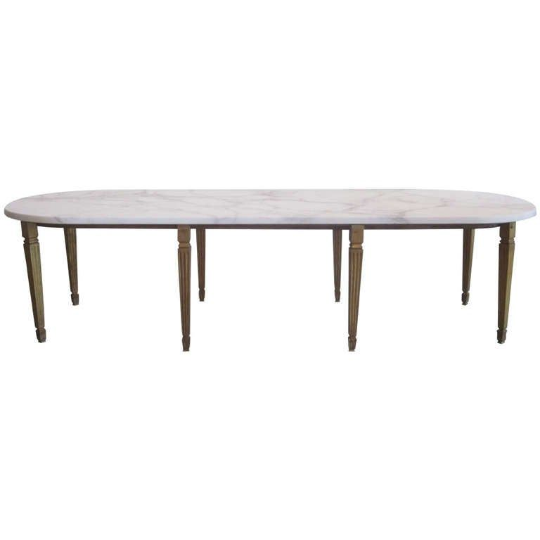 Rare French Modern Neoclassical Gilt Bronze Coffee Table By Sue