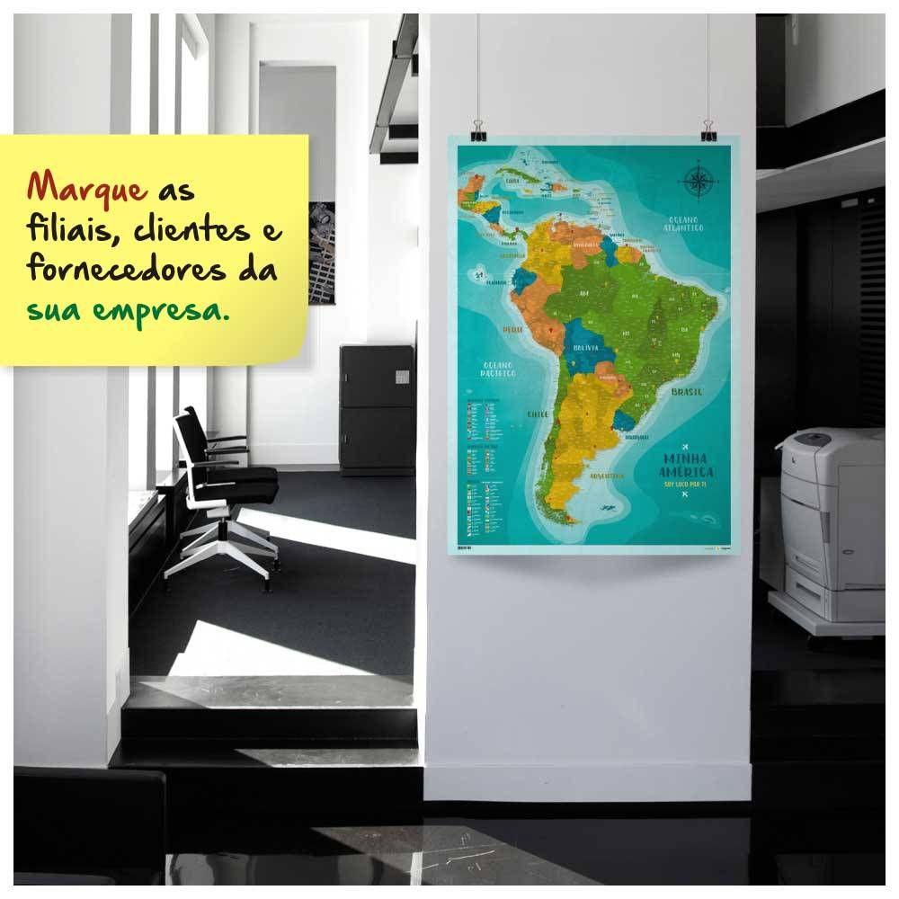 a0b2b110e4c Pôster Mapa América do Sul e América Central com 220 Pins Adesivos para marcar  suas viagens