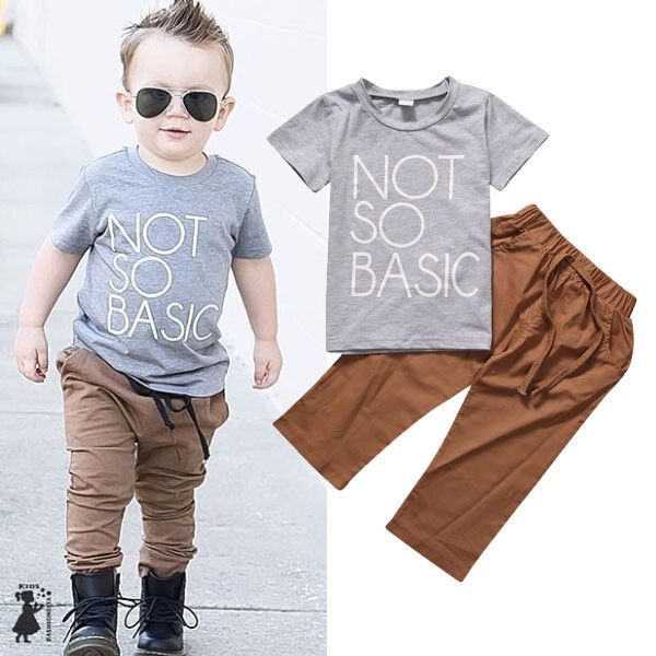 a502cc6c48e0 Click to Buy    Toddler Kids Baby Boys Clothes Set T-shirt Top Pants ...