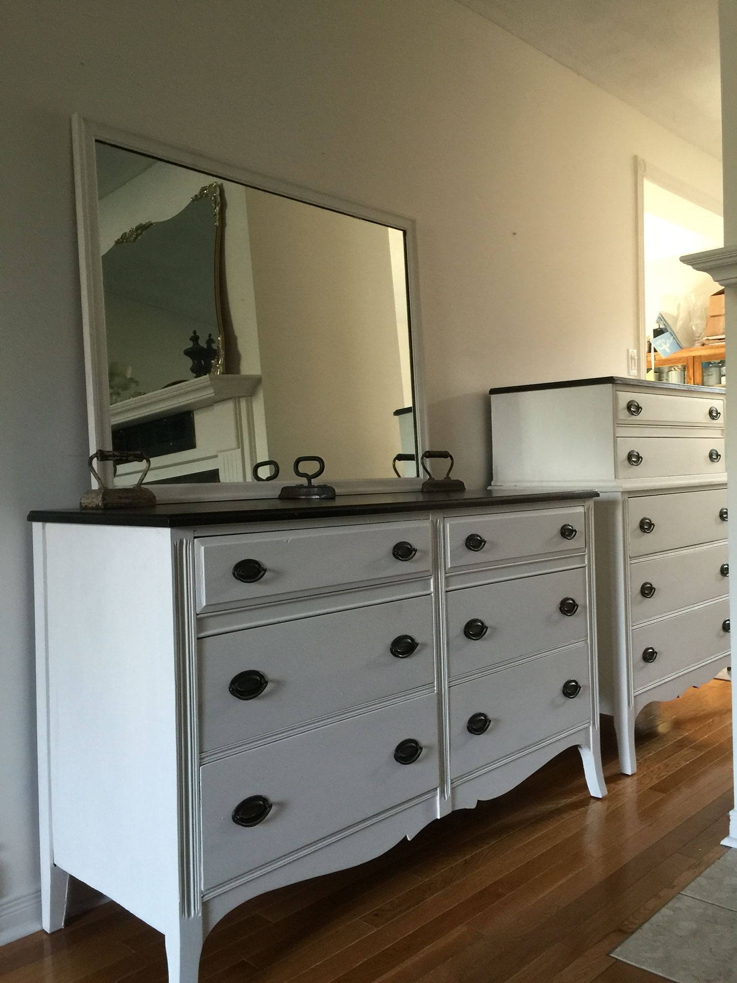 Updated Vintage Mahogany Dresser Set And Mirror Fresh Custom White Paint Restored Tops With