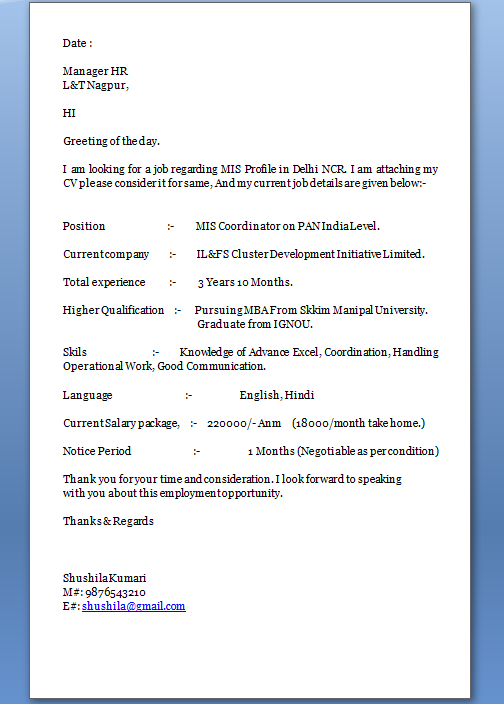 Professional Cover Letter Excellent Job Application Cover Letter