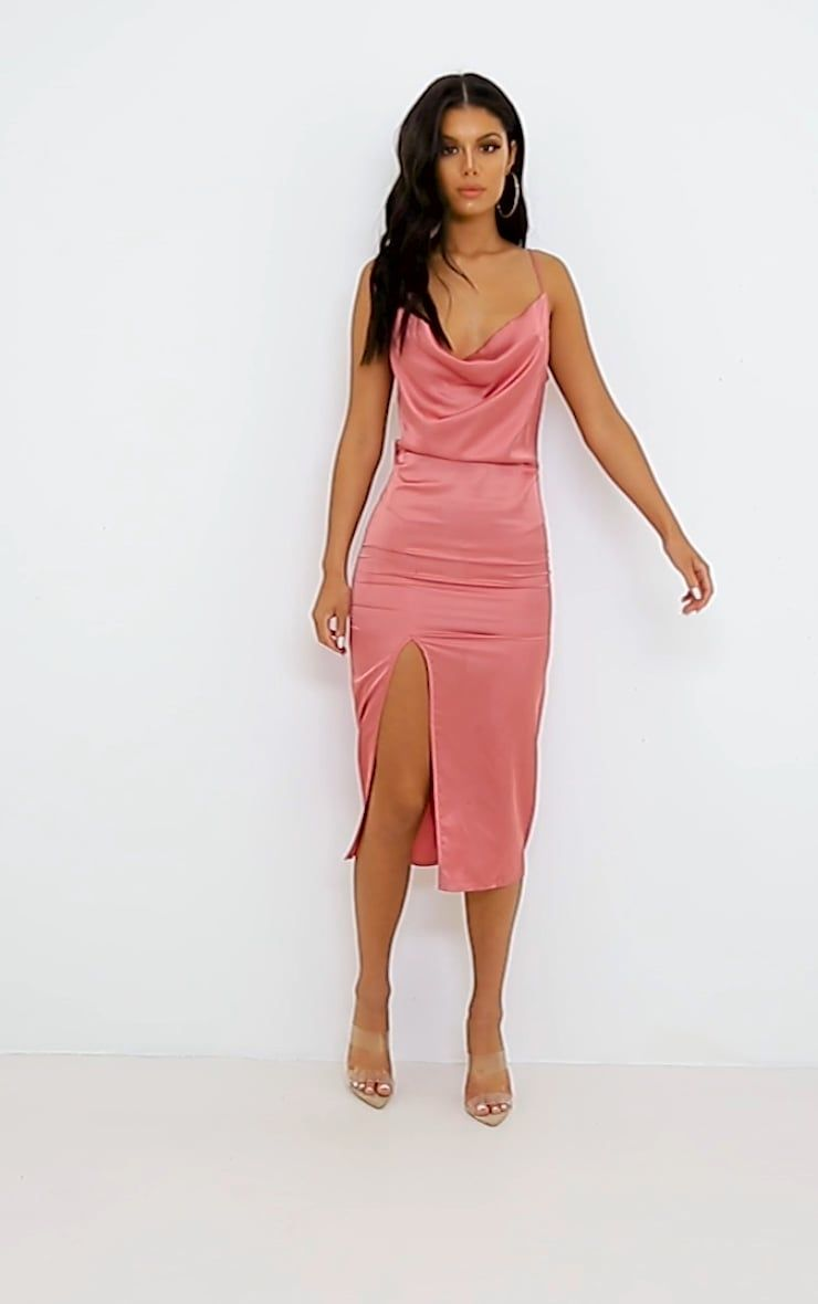 aef81abf422e clw7847 Satin Midi Dress, Rose Dress, Vegas Outfits, Killer Heels, Cowl Neck
