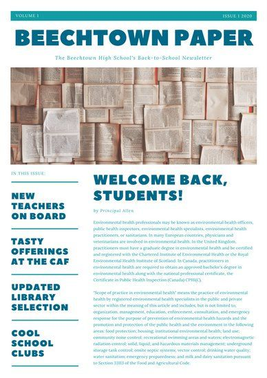 Blue Simple Back To School Newsletter  Icf Media