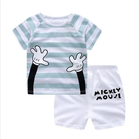 7097f2969bd BibliCal Children Suits summer Baby boys girls Clothing Set Cartoon  Printing Sweatshirts+Casual Shorts 2Pcs Baby fashion Clothes
