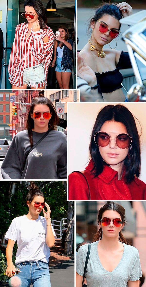 869fe044a60b5 Kendall s Favourite  Lentes Vermelhas. Os óculos coloridos são os favoritos  de Kendall Jenner.