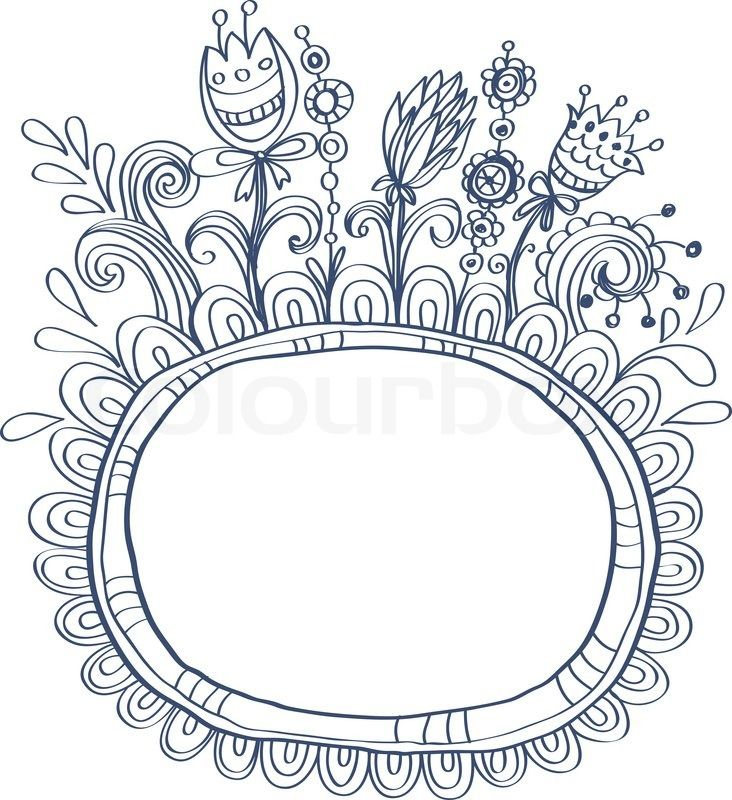 Doodle Border Flower Doodle frame with birds and | Tattoos ...