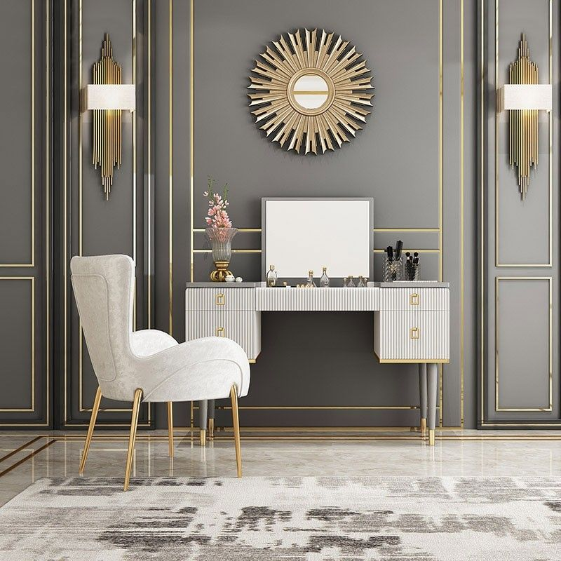 4 Drawer Makeup Vanity Table With Flip Top Mirror White Gray Makeup Table Vanity Modern Vanity Table Vanity Table